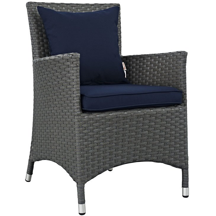 Rattan Dining Chair with Navy Blue Cushions