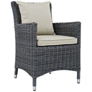 Wicker Rattan Dining Chair with Beige Cushions