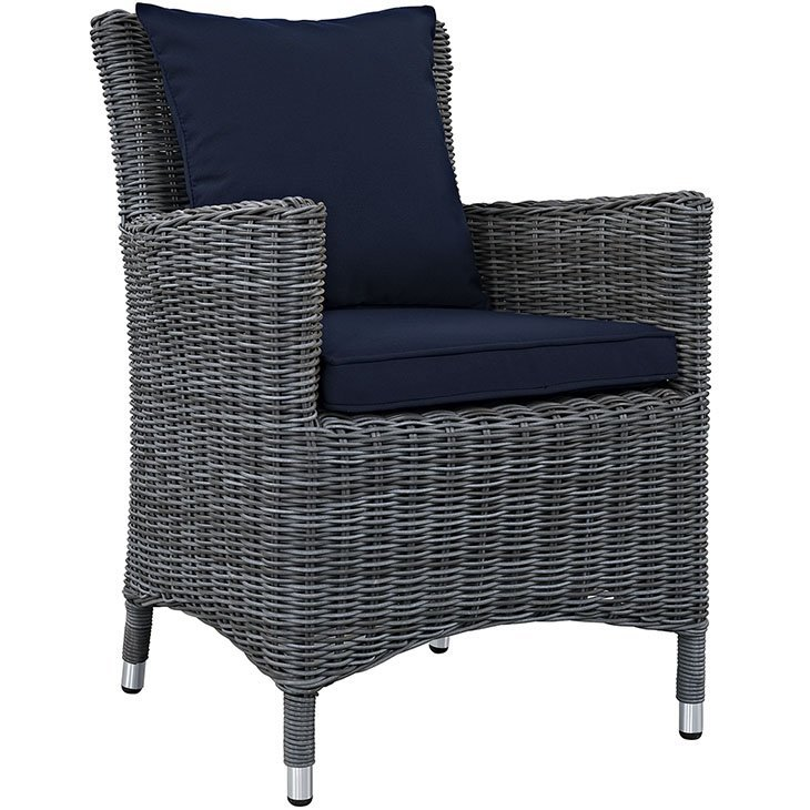Wicker Rattan Dining Chair with Navy Blue Cushions