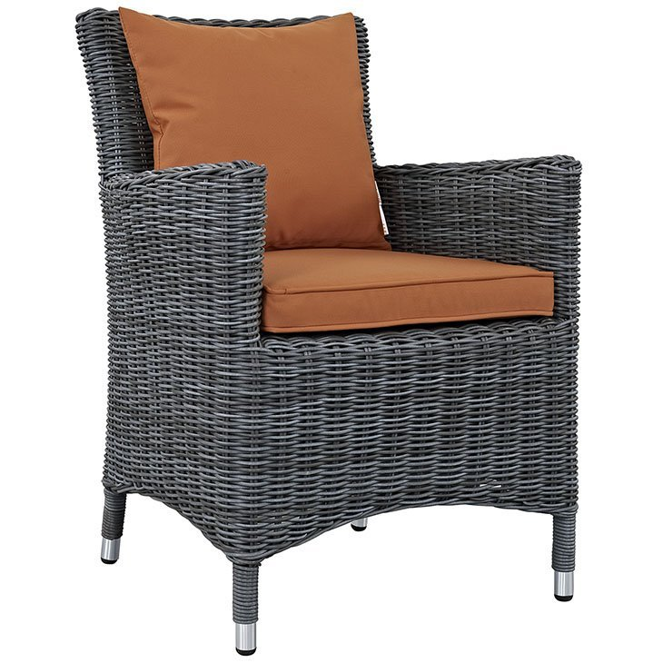 Wicker Rattan Dining Chair with Tuscan Orange Cushions