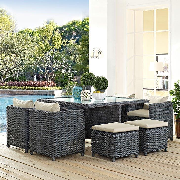 9 piece outdoor patio sunbrella dining set in beige