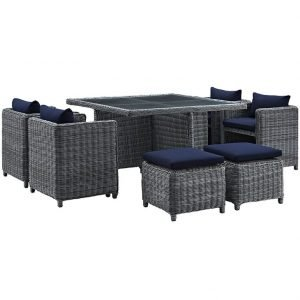 9 piece outdoor patio sunbrella dining set in navy
