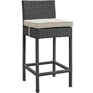 Rattan bar stool with beige cushion