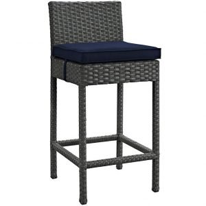 Rattan Bar stool with navy cushion