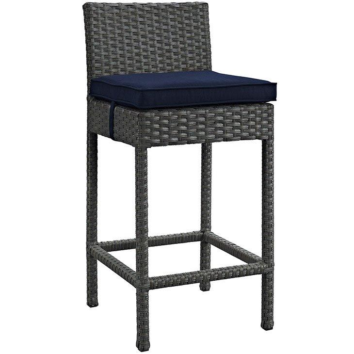Rattan Bar stool with navy cushion