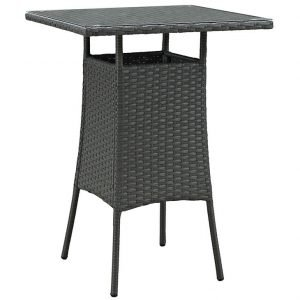 SMALL OUTDOOR PATIO WICKER RATTAN BAR TABLE IN CHOCOLATE