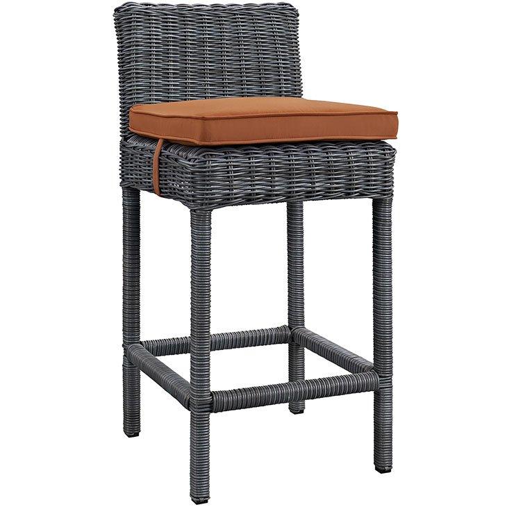 rattan bar height chair with orange cushion