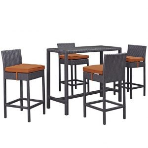Patio pub set in orange