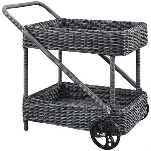 Two Tone Rattan Beverage Cart