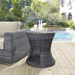 Round Outdoor Patio Side Table in Gray EEI-1991