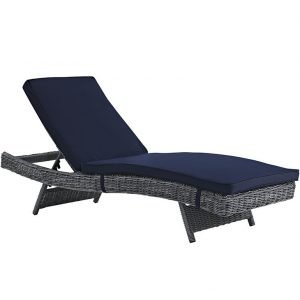 Wicker Rattan Sunlounger in Navy Blue