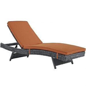 Wicker Rattan Sunlounger in Canvas Tuscan