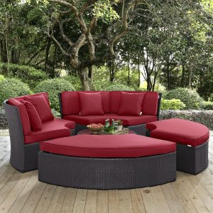 Circular Outdoor Patio Daybed Set in Espresso Red EEI-2171