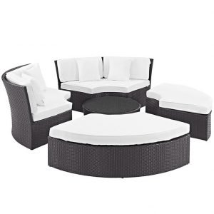 Rattan Daybed with White Cushions