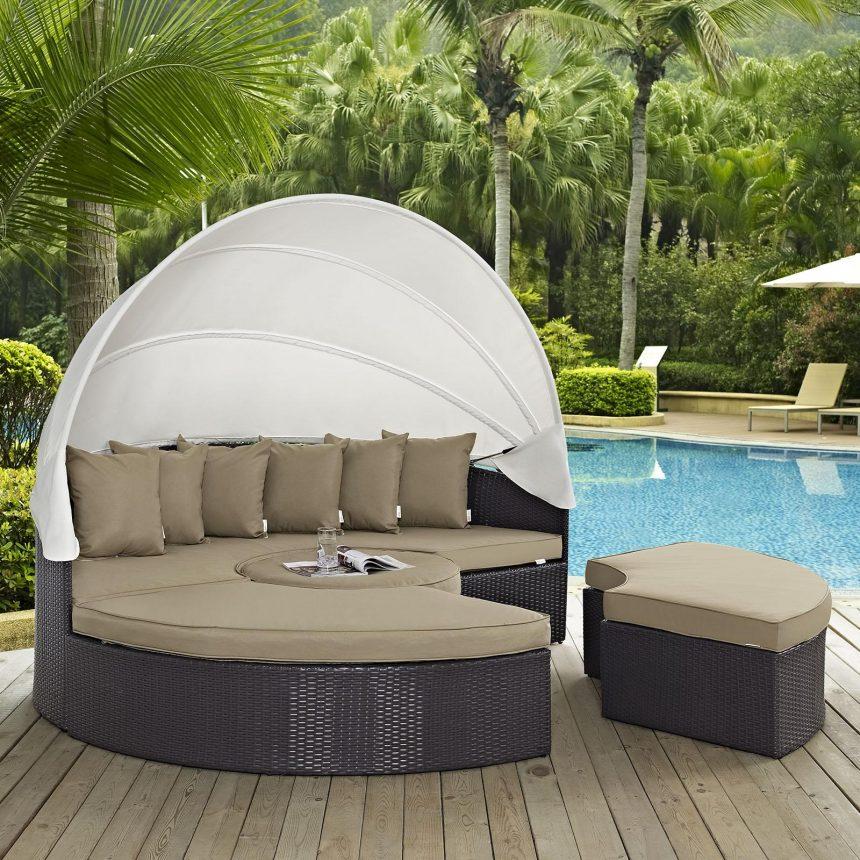 Canopy Outdoor Patio Daybed in Espresso Mocha Cushions EEI-2173