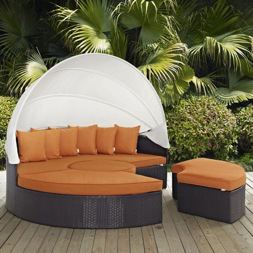 Canopy Outdoor Patio Daybed in Espresso Orange Cushions EEI-2173