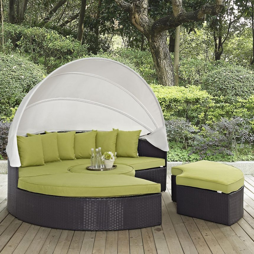 Canopy Outdoor Patio Daybed in Espresso Peridot Cushions EEI-2173