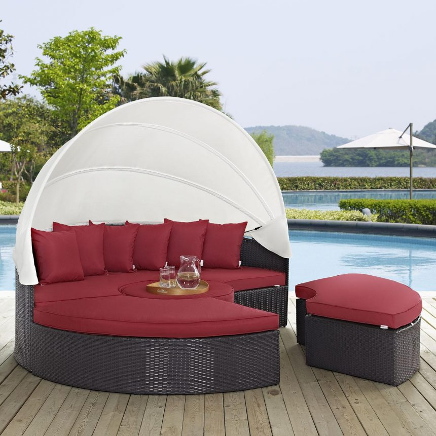 Canopy Outdoor Patio Daybed in Espresso Red Cushions EEI-2173