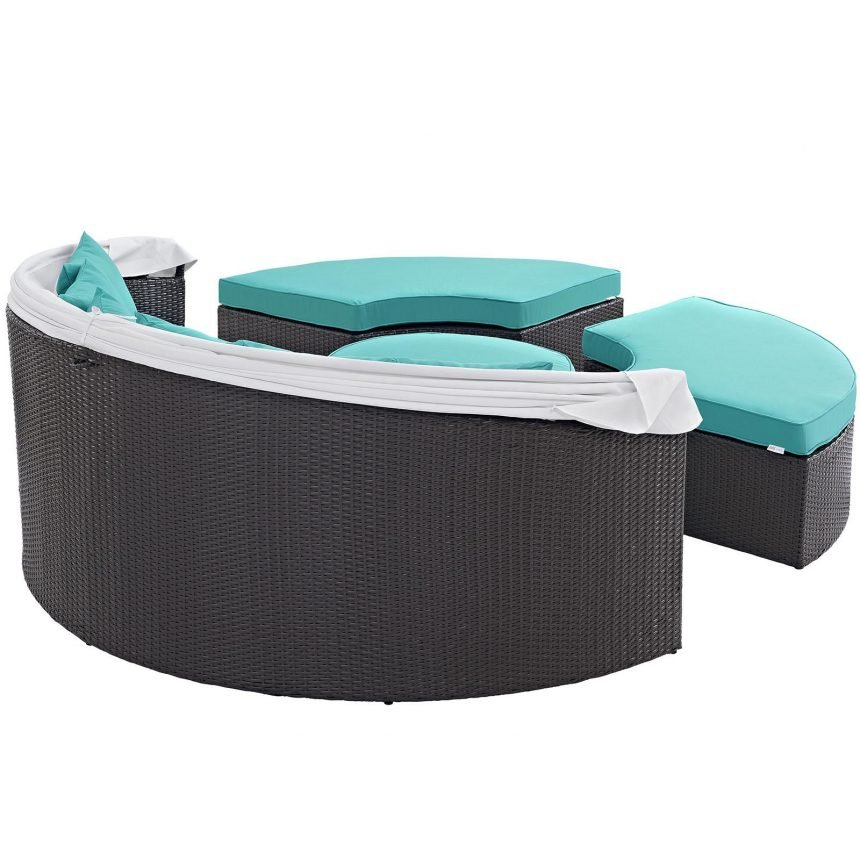 Canopy Outdoor Patio Daybed in Espresso Turquoise Back View EEI-2173