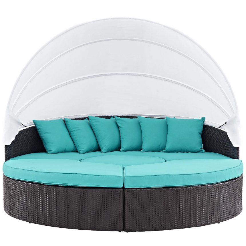 Canopy Outdoor Patio Daybed in Espresso Turquoise EEI-2173