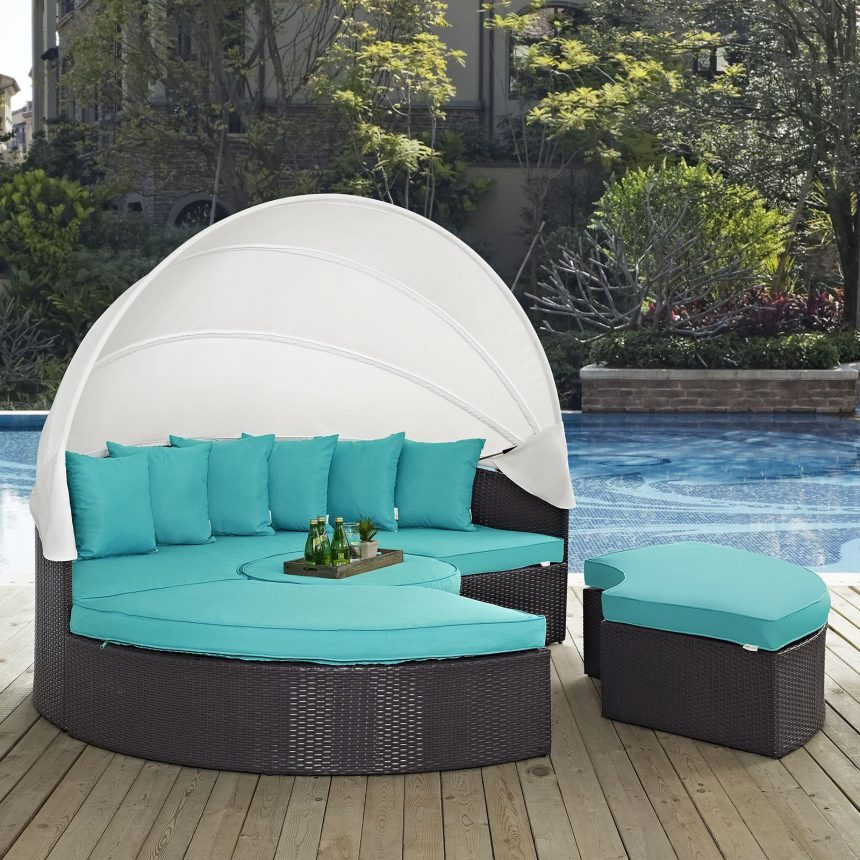 Canopy Outdoor Patio Daybed in Espresso Turquoise Cushions EEI-2173