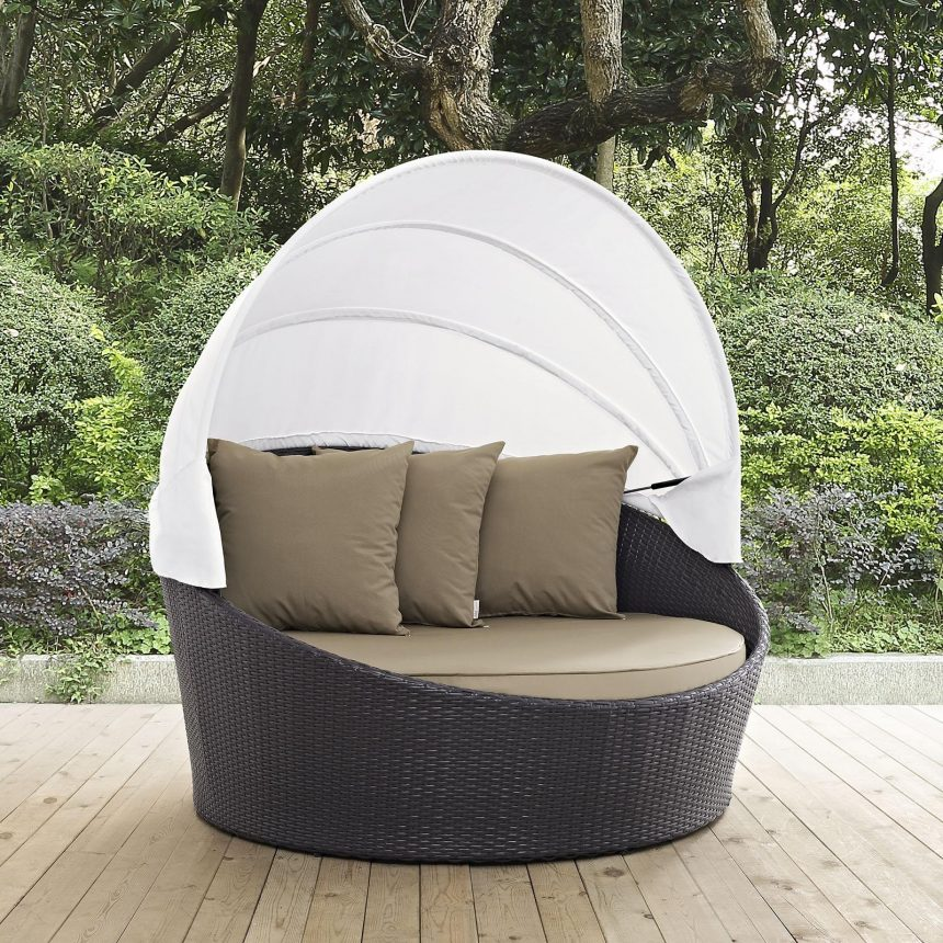 Canopy Outdoor Patio Daybed in Espresso Mocha Cushions EEI-2175