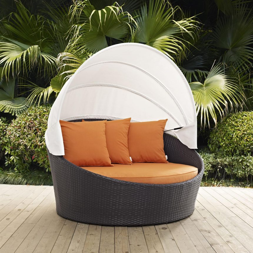 Canopy Outdoor Patio Daybed in Espresso Orange Cushions EEI-2175