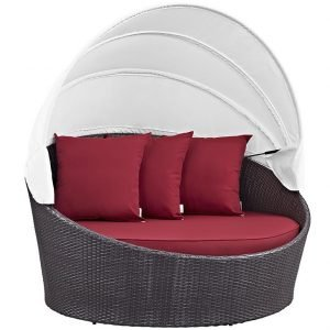 day bed, daybed, outdoor day bed, outdoor daybed, outdoor sofa, outdoor chairs, deep seating, patio chairs, Red Canopy Day Bed