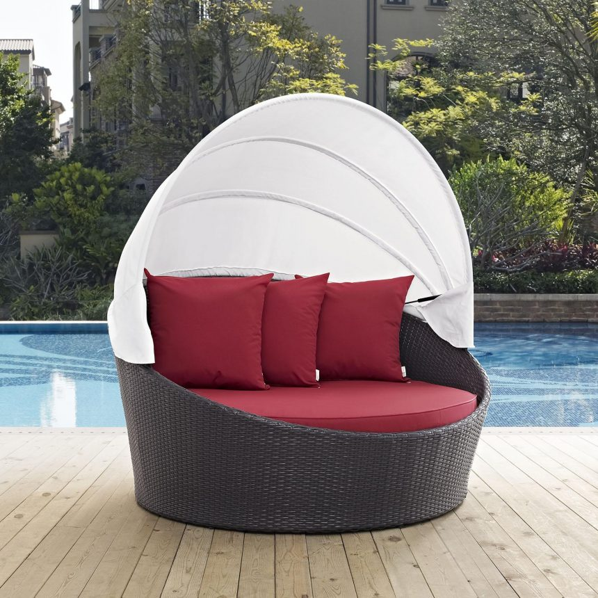 Canopy Outdoor Patio Daybed in Espresso Red Cushions EEI-2175