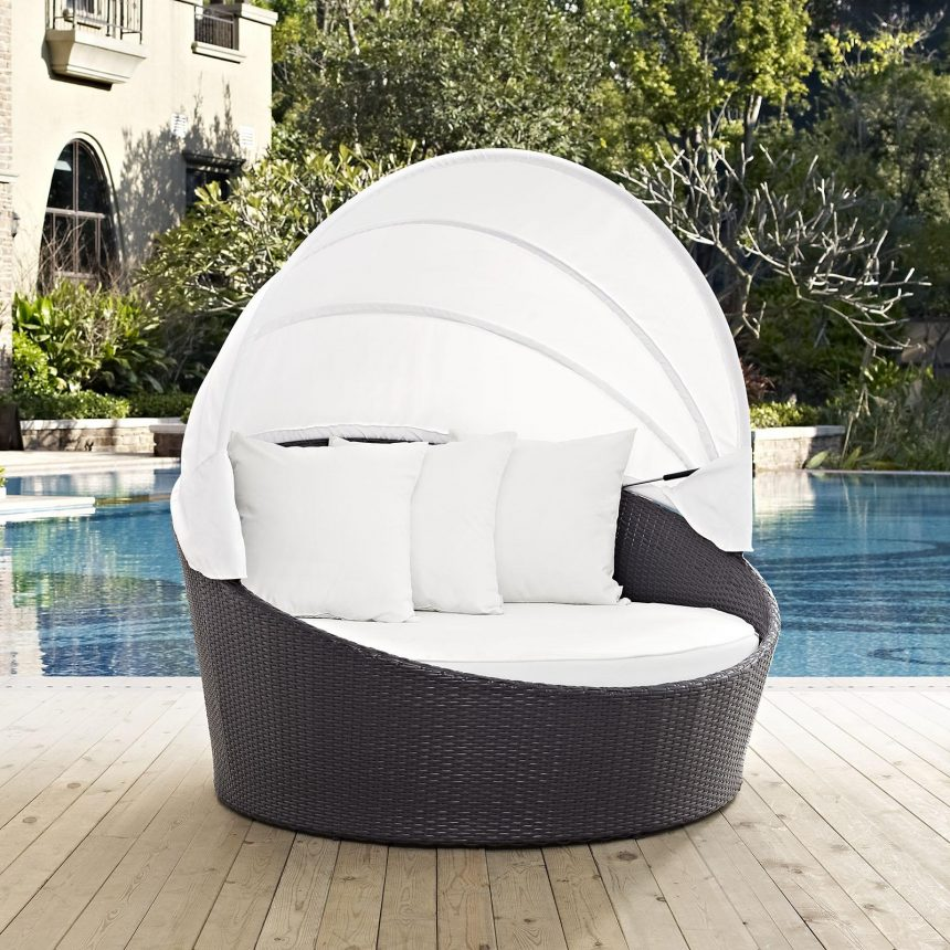 Canopy Outdoor Patio Daybed in Espresso White Cushions EEI-2175