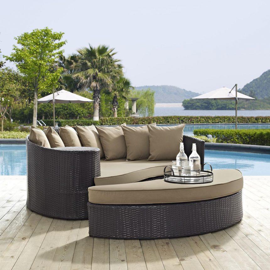 Outdoor Patio Daybed in Espresso Mocha Cushions EEI-2176