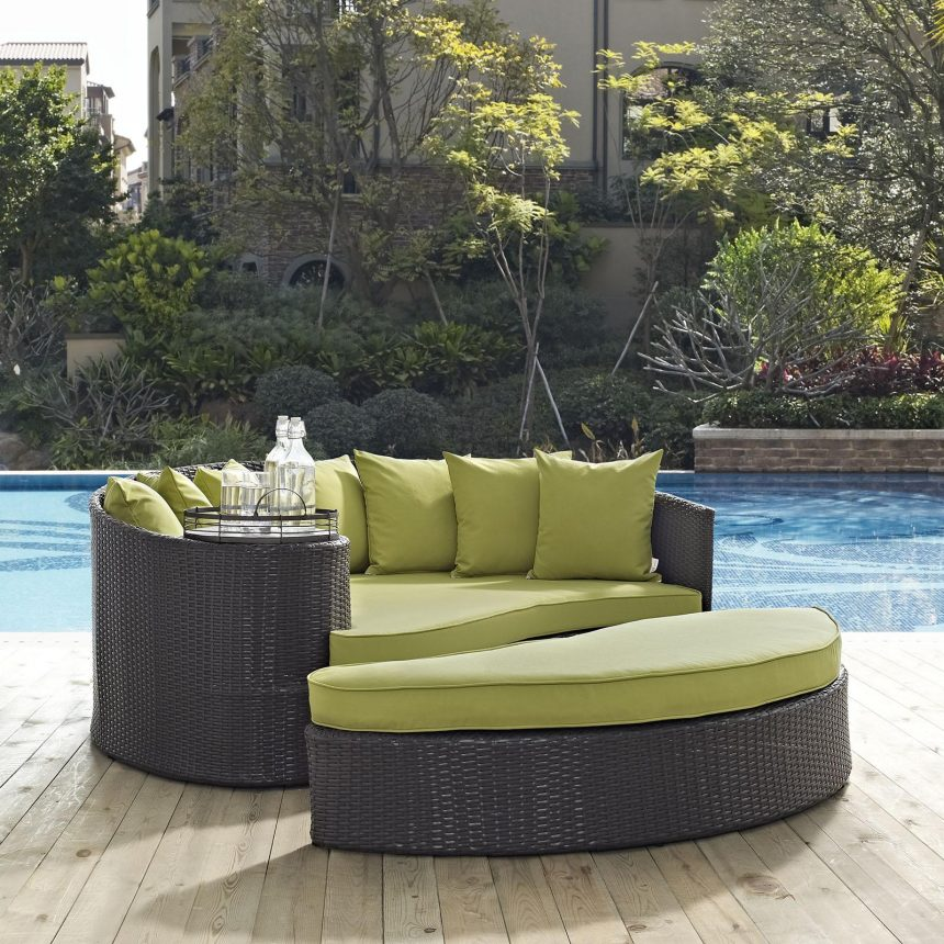 Outdoor Patio Daybed in Espresso Peridot Cushions EEI-2176