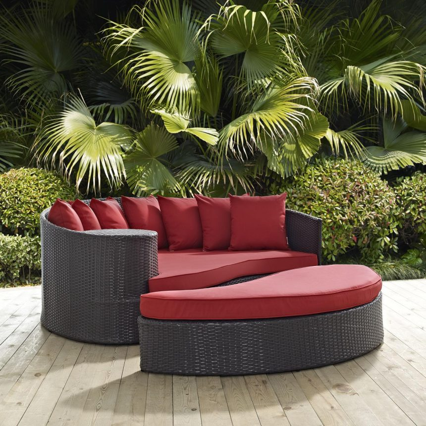 Outdoor Patio Daybed in Espresso Red Cushions EEI-2176