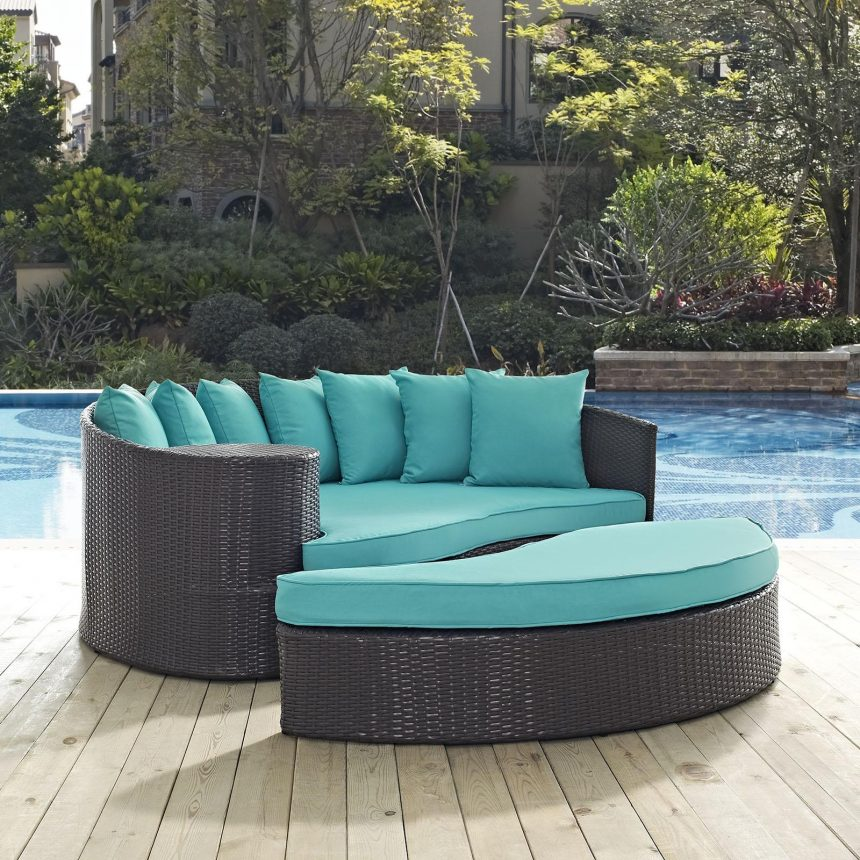 Outdoor Patio Daybed in Espresso Turquoise Cushions EEI-2176