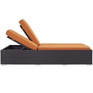 Double Outdoor Patio Chaise in Espresso Orange EEI-2177