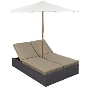 Double Outdoor Patio Chaise in Espresso Mocha EEI-2180