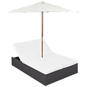 Double Outdoor Patio Chaise in Espresso White EEI-2180