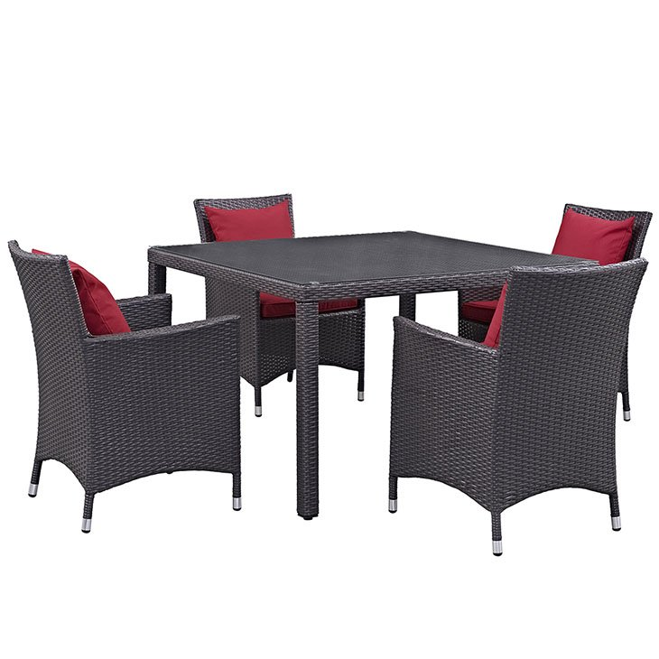 Rattan Dining Set with Red Cushions