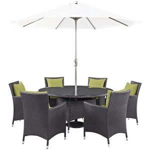 8 PIECE OUTDOOR PATIO WICKER RATTAN DINING SET IN ESPRESSO PERIDOT