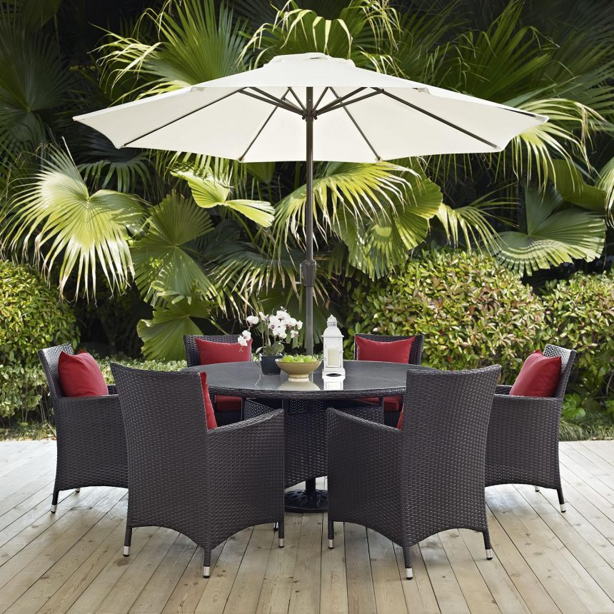 8 Piece Outdoor Patio Dining Set in Espresso Red Cushions EEI-2194