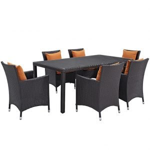 7 PIECE OUTDOOR PATIO WICKER RATTAN DINING SET IN ESPRESSO ORANGE