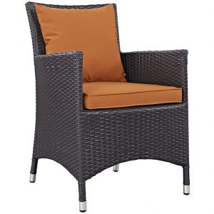 WICKER RATTAN DINING CHAIR IN ESPRESSO ORANGE