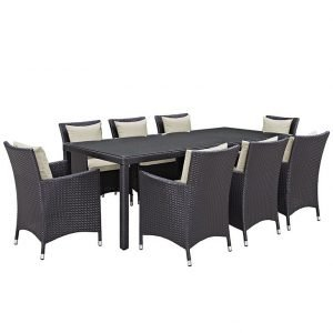 9 piece rattan patio dining set with beige cushions