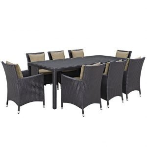9 piece patio dining set with mocha cushions