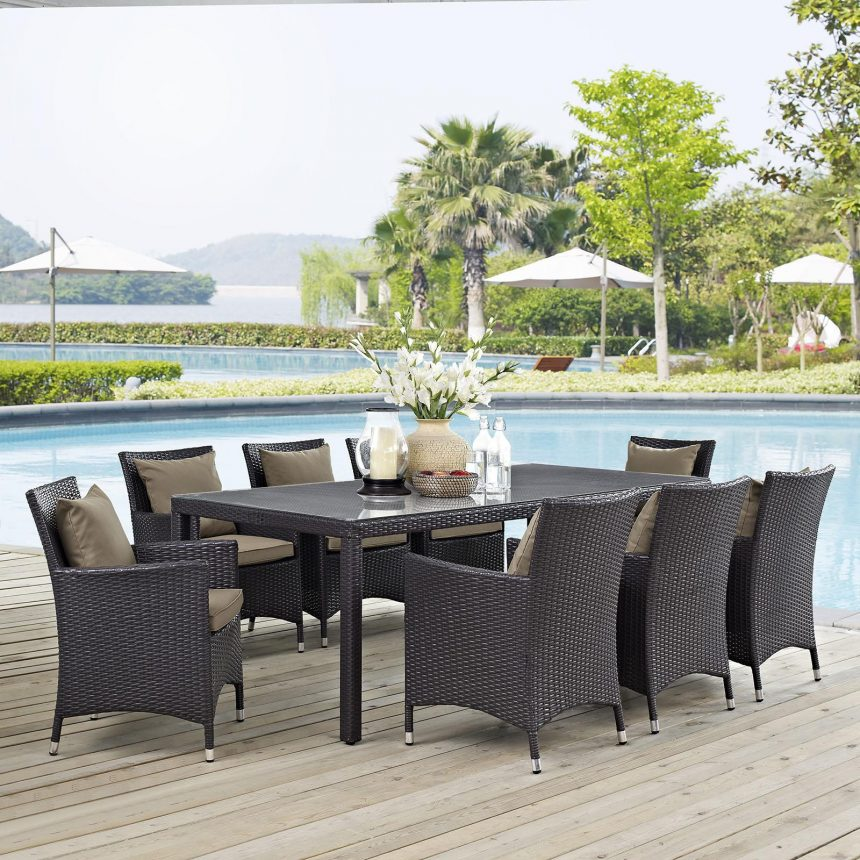 9 Piece Outdoor Patio Dining Set in Espresso Mocha Cushions EEI-2217