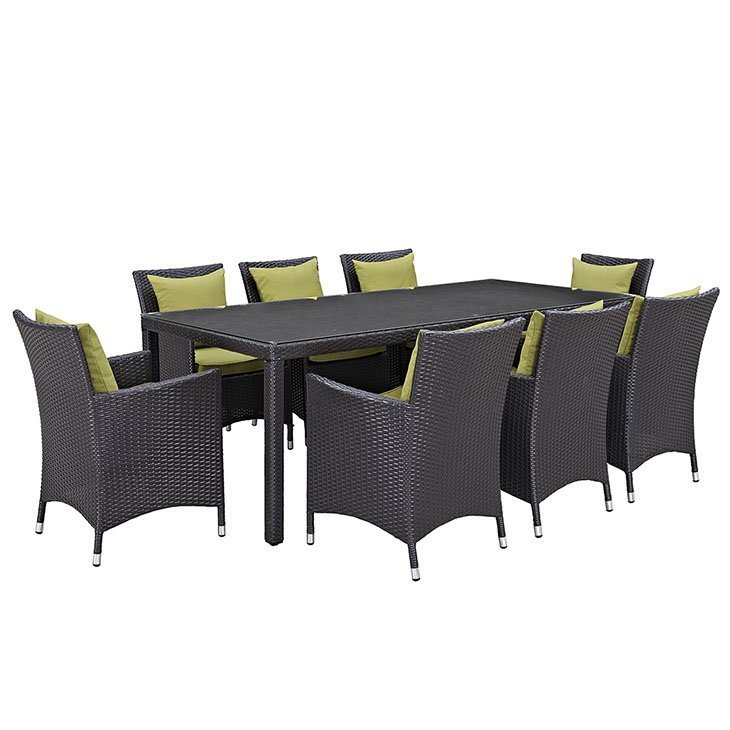 9 piece patio dining set with green cushions