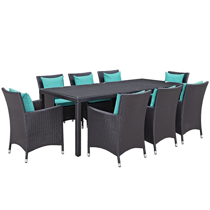 9 piece outdoor patio dining set turquoise cushions
