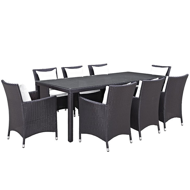 9 piece rattan patio dining set with white cushions