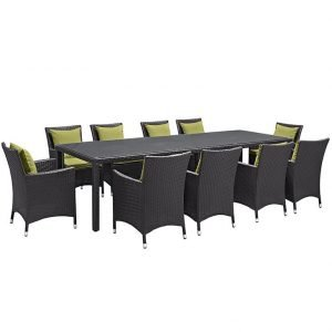 11 PIECE OUTDOOR PATIO WICKER RATTAN DINING SET IN ESPRESSO PERIDOT
