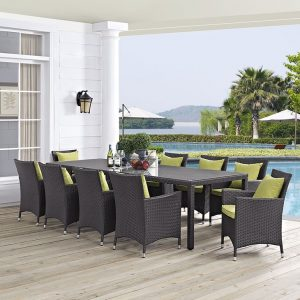11 Piece Outdoor Patio Dining Set in Espresso Orange EEI-2219